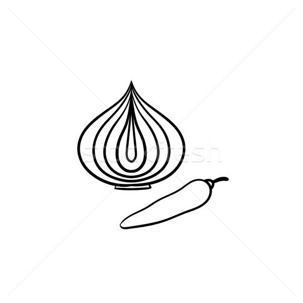 Onion bulb and chili pepper hand drawn sketch icon Stock photo © RAStudio