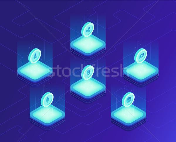 Stock fotó: Izometrikus · felhő · bányászat · bitcoin · hullám · érmék