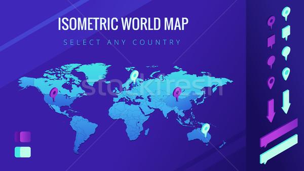Мир карта изометрический Стрелки пузырьки стране Сток-фото © RAStudio