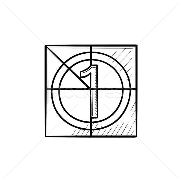 Película cuenta atrás dibujado a mano garabato icono Foto stock © RAStudio