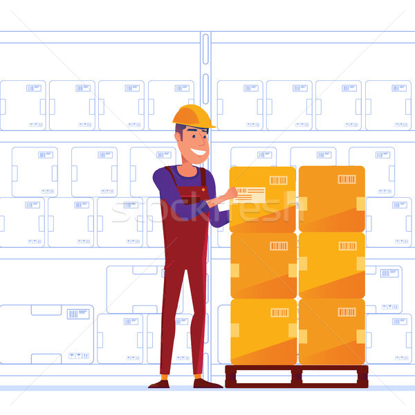 Warehouse worker is storing boxes on the pallet Stock photo © RAStudio