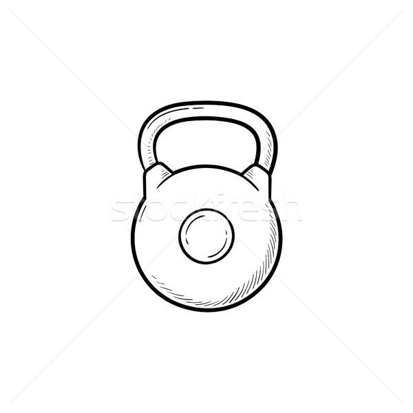 гири рисованной болван икона спортзал Сток-фото © RAStudio