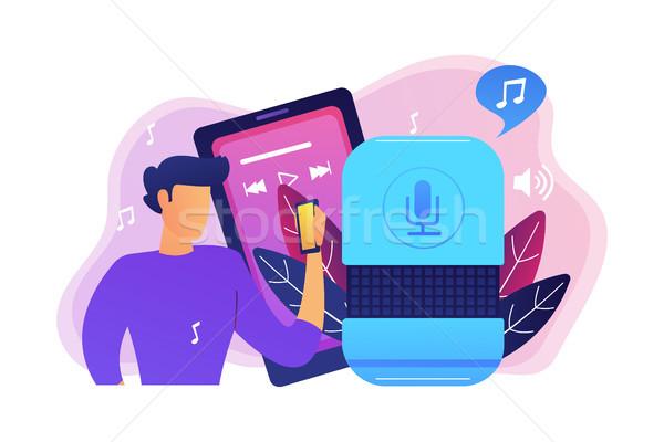 Muziek streaming gebruiker spelen smart spreker Stockfoto © RAStudio