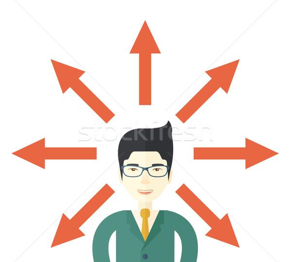 Vent veel pijlen japans zakenman verward Stockfoto © RAStudio