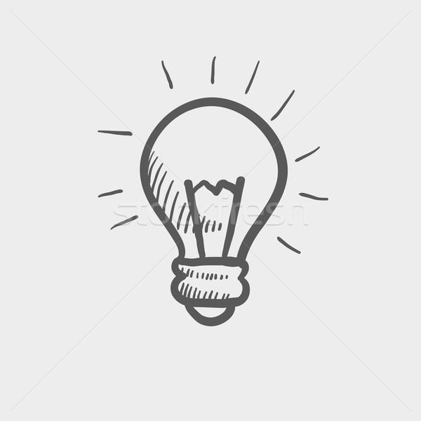 żarówka szkic ikona internetowych komórkowych Zdjęcia stock © RAStudio
