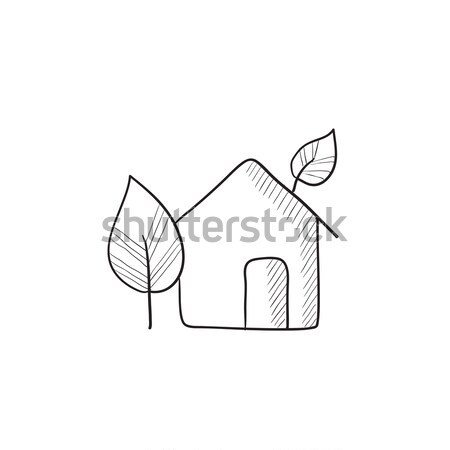House with leave and tree sketch icon Stock photo © RAStudio