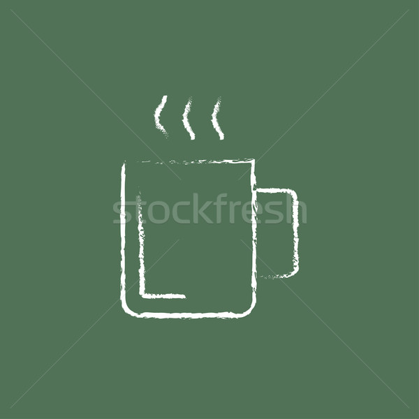 Mug of hot drink icon drawn in chalk. Stock photo © RAStudio