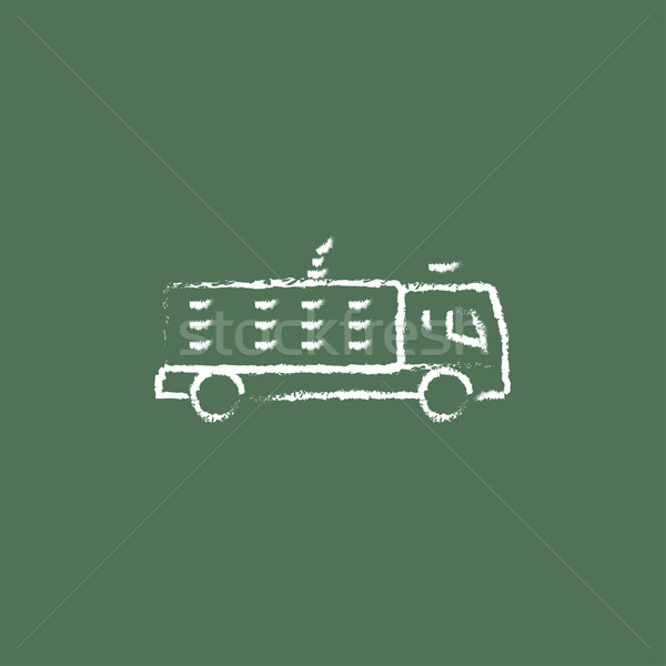 Fire truck icon drawn in chalk. Stock photo © RAStudio