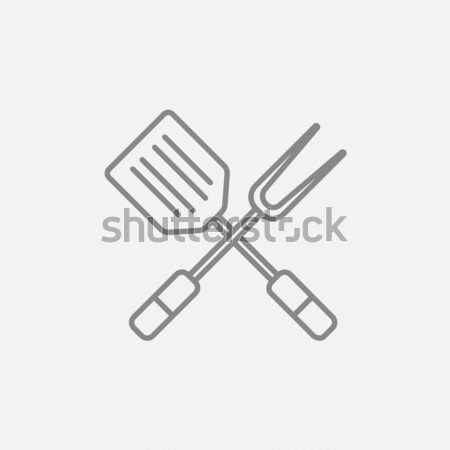 Cuisine spatule grand fourche ligne icône Photo stock © RAStudio