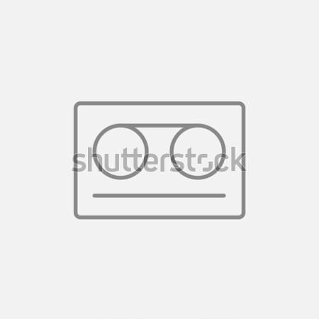 Cassette tape lijn icon web mobiele Stockfoto © RAStudio