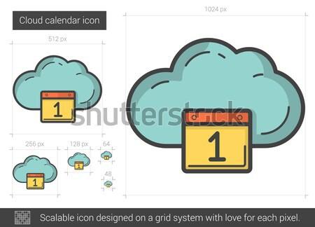Stock fotó: Felhő · alapú · technológia · vonal · ikon · felhő · naptár · háló
