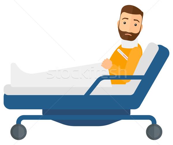 Patiënt bed gewond nek vector ontwerp Stockfoto © RAStudio