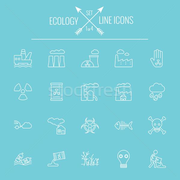 Ecologie vector witte icon geïsoleerd Stockfoto © RAStudio