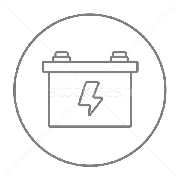 Foto stock: Coche · batería · línea · icono · web · móviles