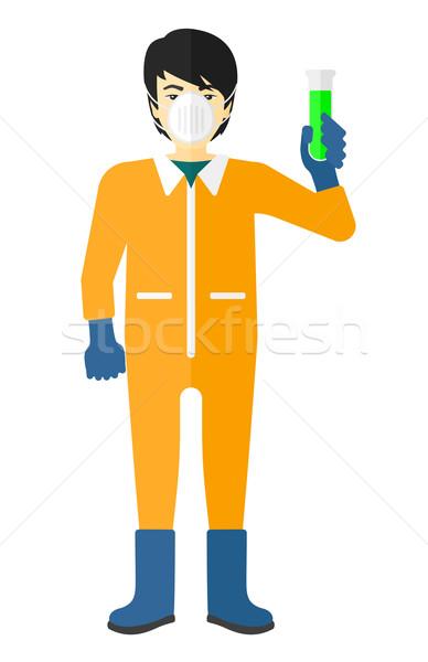 Laboratório assistente test tube asiático químico terno Foto stock © RAStudio
