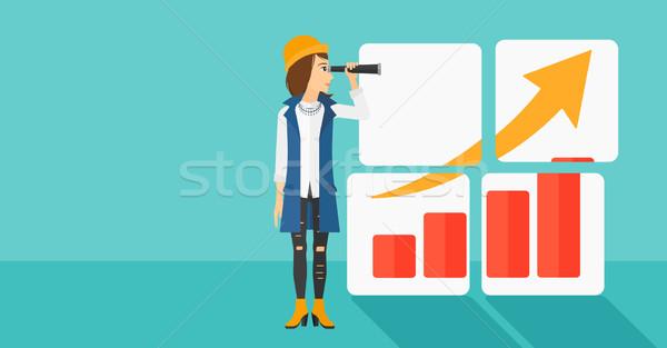 Femme regarder positif graphique à barres bleu vecteur Photo stock © RAStudio