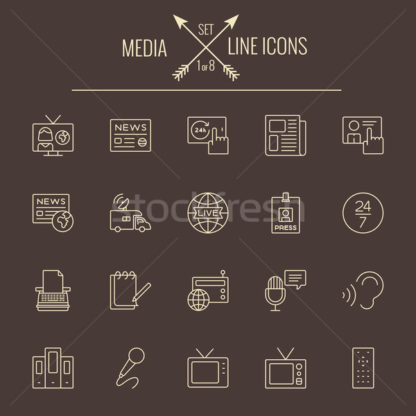Stock photo: Media icon set.