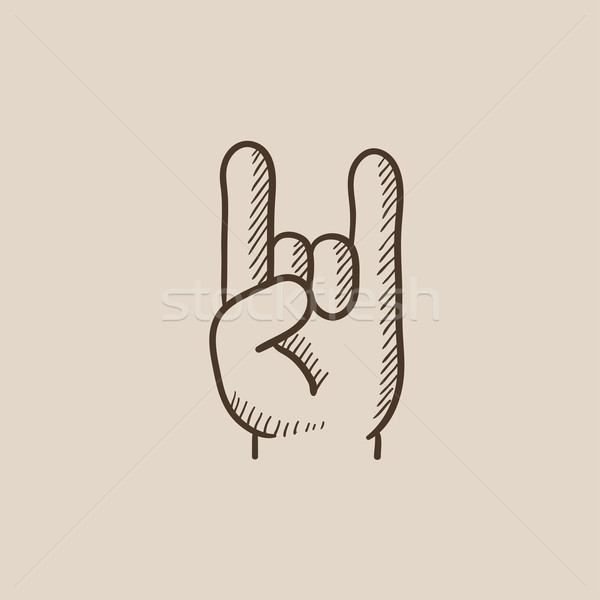 Rock rollen handteken schets icon web Stockfoto © RAStudio
