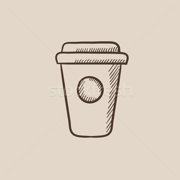 Usa e getta Cup sketch icona web mobile Foto d'archivio © RAStudio