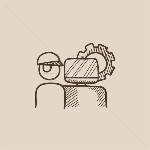 Computerized production sketch icon. Stock photo © RAStudio