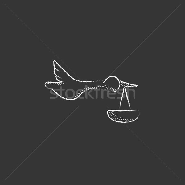 Baba kosár gólya rajzolt kréta ikon Stock fotó © RAStudio
