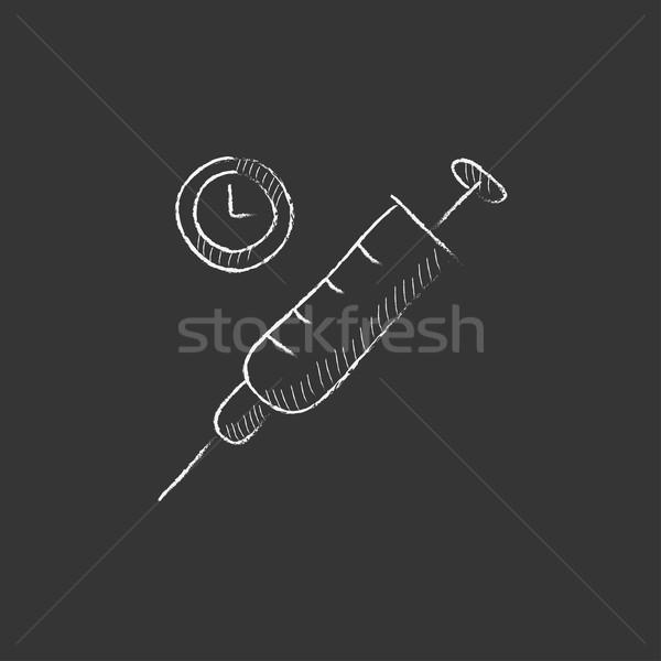 Injekciós tű rajzolt kréta ikon óramutató vektor Stock fotó © RAStudio