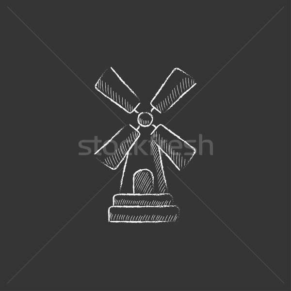 Windmill. Drawn in chalk icon. Stock photo © RAStudio