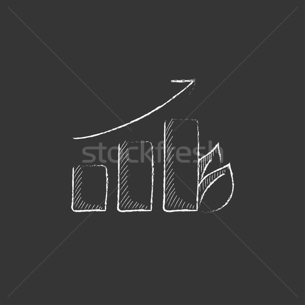 Bar graph with leaf. Drawn in chalk icon. Stock photo © RAStudio