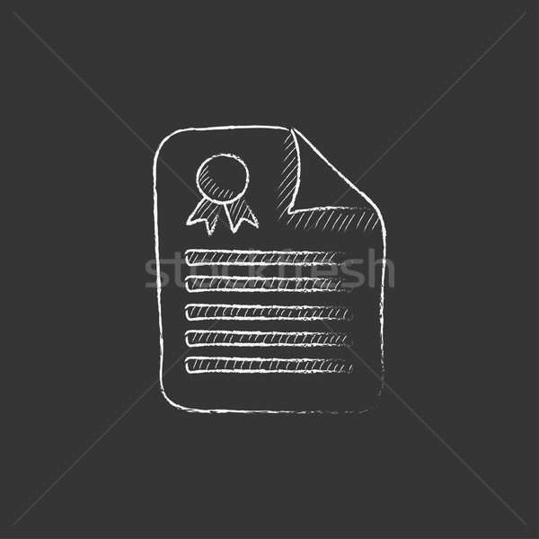Stock photo: Real estate contract. Drawn in chalk icon.