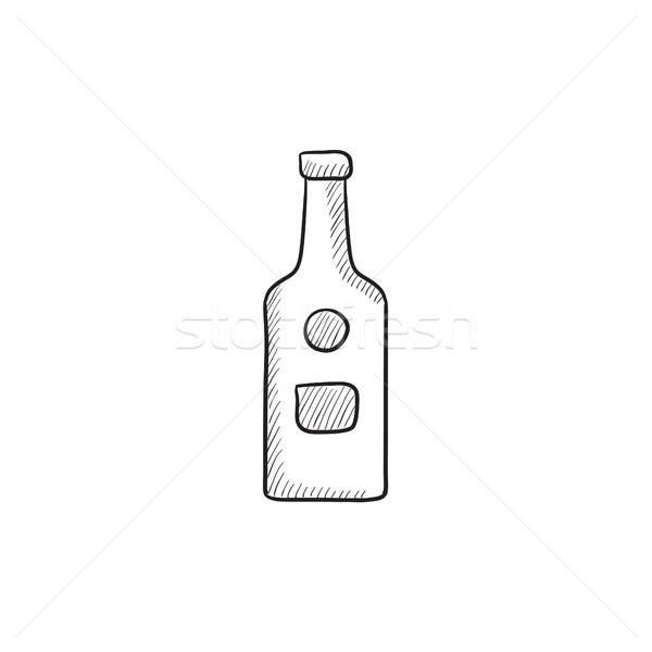 Cam şişe kroki ikon vektör yalıtılmış Stok fotoğraf © RAStudio