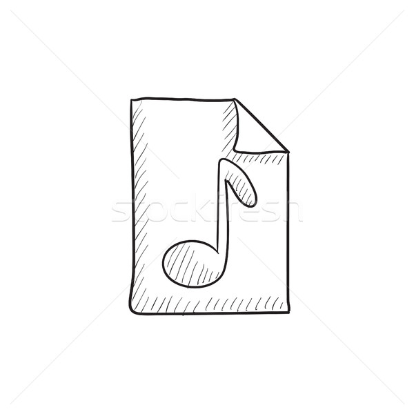Musical note drawn on sheet sketch icon. Stock photo © RAStudio