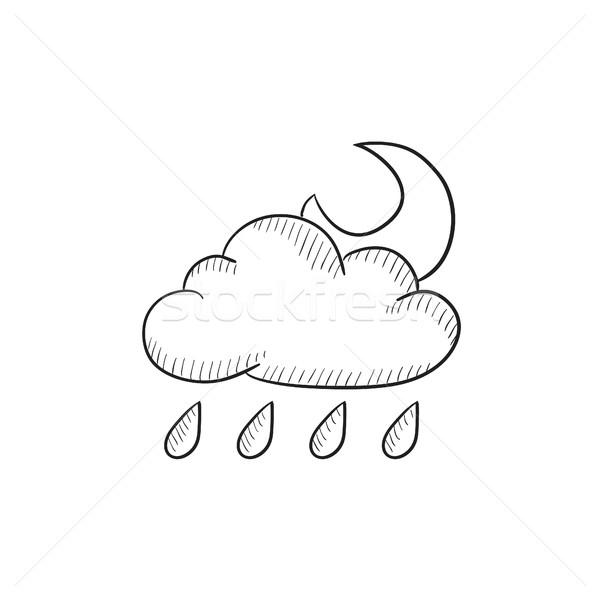 Cloud with rain and moon sketch icon. Stock photo © RAStudio