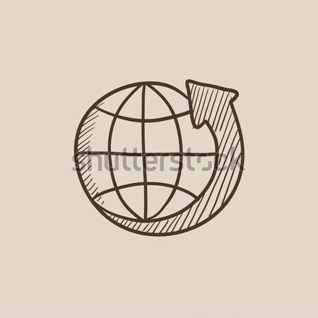 Terra seta em torno de esboço ícone vetor Foto stock © RAStudio