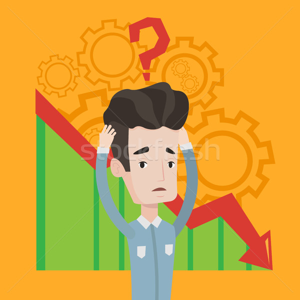 Bankrupt clutching his head vector illustration. Stock photo © RAStudio