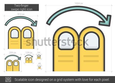 Two-finger swipe right line icon. Stock photo © RAStudio