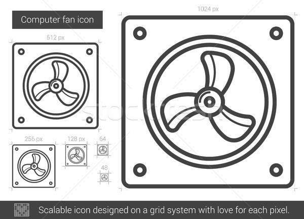 Foto stock: Computador · ventilador · linha · ícone · vetor · isolado