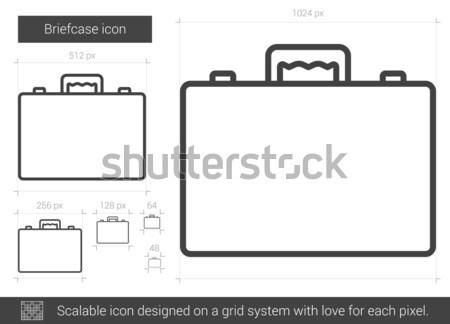 портфель линия икона вектора изолированный белый Сток-фото © RAStudio