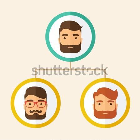 Cég alkalmazottak rangsor pozició diagram három Stock fotó © RAStudio