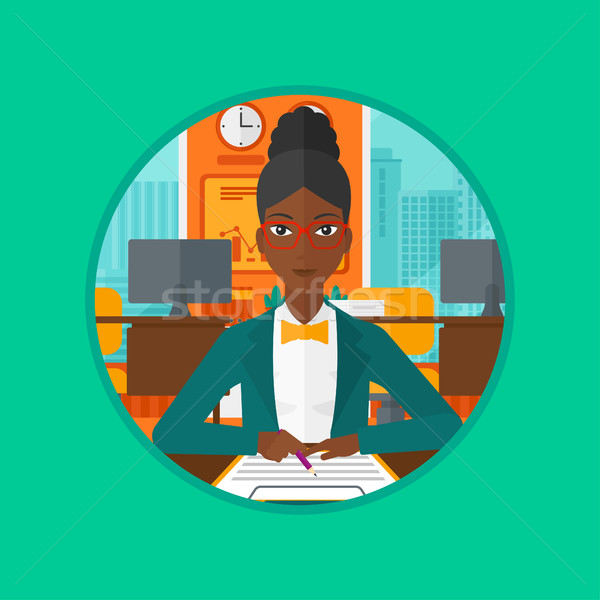 Aláírás üzlet iratok afrikai üzletasszony nő Stock fotó © RAStudio