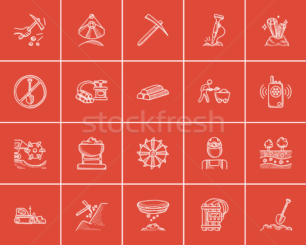 Mining industry sketch icon set. Stock photo © RAStudio