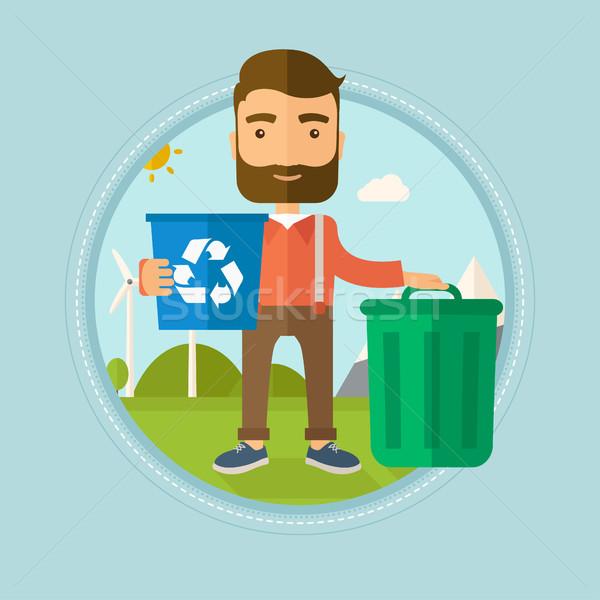 человека Recycle мусорное ведро борода Сток-фото © RAStudio