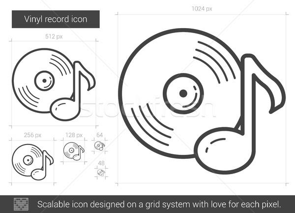 Vinyl Eintrag line Symbol Vektor isoliert Stock foto © RAStudio