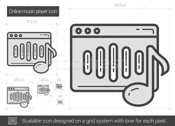 On-line music player linha ícone vetor isolado Foto stock © RAStudio