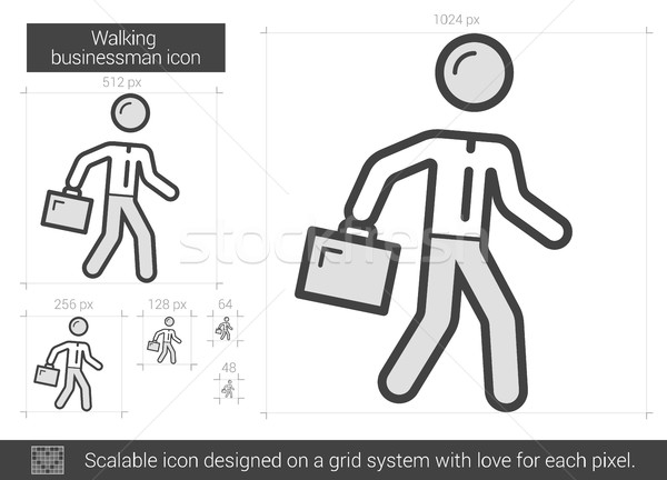 Walking businessman line icon. Stock photo © RAStudio