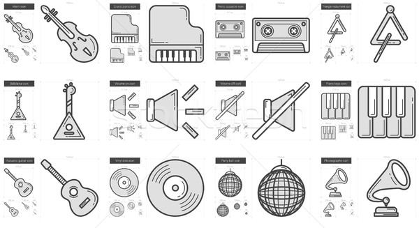 Stock photo: Music line icon set.