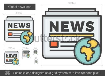 Global noticias línea icono vector aislado Foto stock © RAStudio