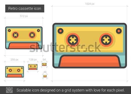 レトロな カセット 行 アイコン ベクトル 孤立した ストックフォト © RAStudio