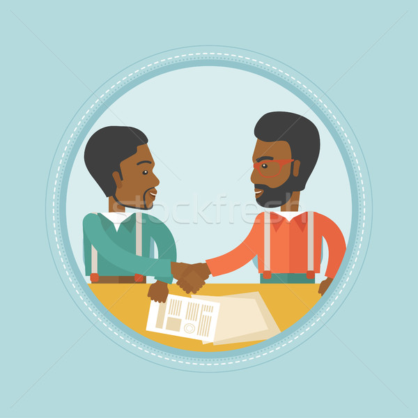 бизнесменов подписания бизнеса договор два рукопожатием Сток-фото © RAStudio