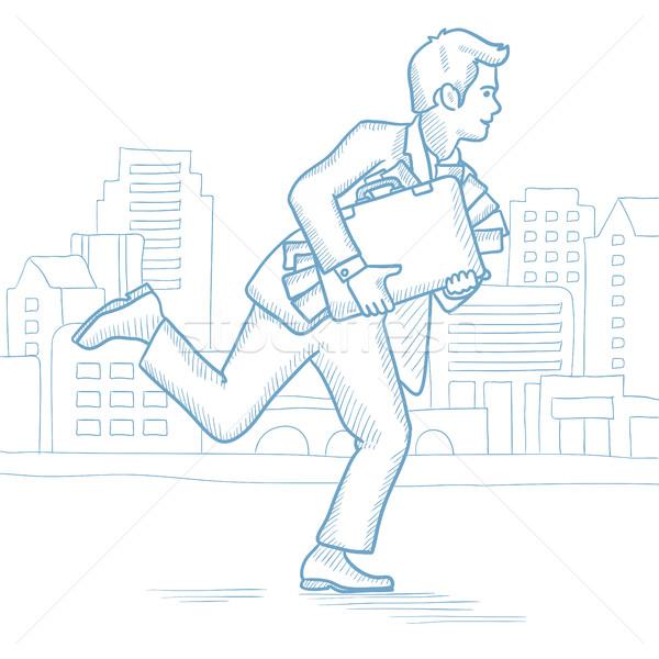 Businessman running with suitcase full of money. Stock photo © RAStudio