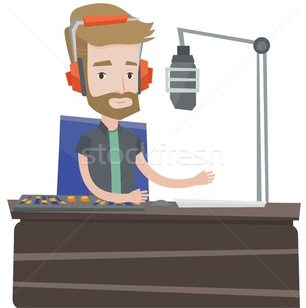 Male dj working on the radio vector illustration. Stock photo © RAStudio